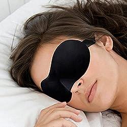 UKKO Schlafmaske 2 Stücke 3D Schlafbrillen Schlaf Kissenbezug Tragbare Reisestütze Goggles Damenbrillen Männer Brille-Default