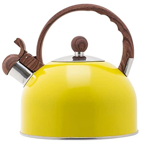 Hemoton Chaleira de Assobio Do Aço Inoxidável Chaleira de Chá de Assobio Moderno Bule Chaleira de Água Com Punho Alto Apito 2. 5L Amarelo