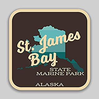 JMM Industries Saint James Bay State Marine Park Alaska Vinyl Decal Sticker Car Window Bumper 2-Pack 4-Inches by 4-Inches Premium Quality UV Protective Laminate SPS517