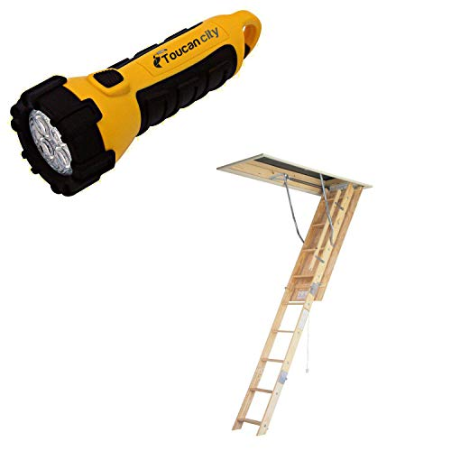 Toucan City LED Flashlight and WERNER 8 ft. - 10 ft, 22.5 in. x 54 in. Universal Fit Wood Attic Ladder with 250 lb. Maximum Load Capacity WU2210
