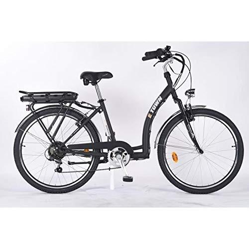 MFC E-Town Bicicleta eléctrica Adulto Unisex, Negro Mate, M