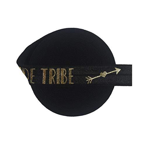 DIY PARK 5 Yard 5/8' 15mm Gold Bride Tribe Arrow of Love Foil Print Fold Over Elastic FOE Spandex Satin Band Baby Headband Hair Tie Tutu Dress Sewing Trim(Black)