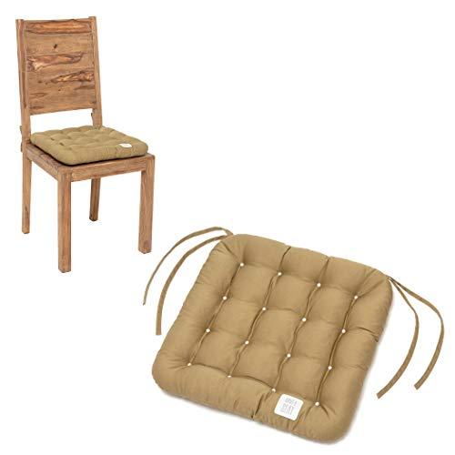 HAVE A SEAT Luxury - Sitzkissen 40x40 cm (2 St.) - bequemes Stuhlkissen, orthopädisch, waschbar bis 95°C, Trockner geeignet, farbecht - Made in Germany - (2er Set, Beige)