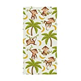 Naanle Cute Cartoon Monkey Trees Pattern Soft Highly Absorbent Large Decorative Hand Towels Multipurpose for Bathroom, Hotel, Gym and Spa (16 x 30 Inches)