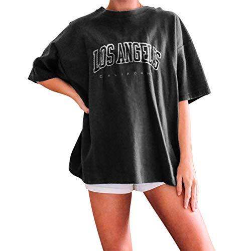 Onsoyours Oberteile Damen Oversized Tshirt Sportshirt Kurzarm Sport Oberteile Vintage Sweatshirt Rundhals Oberteile Teenager Mädchen Best Friends Top Lang 01 Schwarz XS