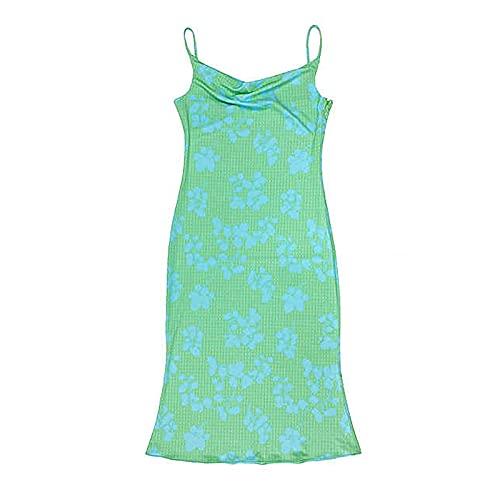 Beautmell Vestido sexy de mujer con estampado de teñido anudado, sin mangas, bodycon multicolor, Y2K, vestido de verano, Azul Verde, XL
