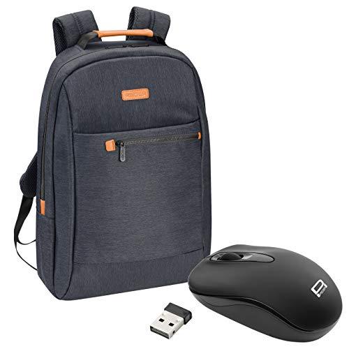 """PEDEA Laptop Rucksack """"Elegance"""" Notebook-Rucksack bis 17,3 Zoll (43,9 cm) mit Tablet-PC Fach bis 10,1 Zoll (25,9 cm) inkl. Schnurloser Maus, Grau"""