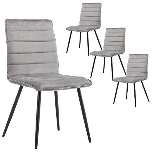 Duhome 4er Set Esszimmerstuhl aus Stoff Samt Stuhl Retro Design Polsterstuhl mit Rückenlehne Metallbeine Farbauswahl 8045A, Farbe:Grau, Material:Samt