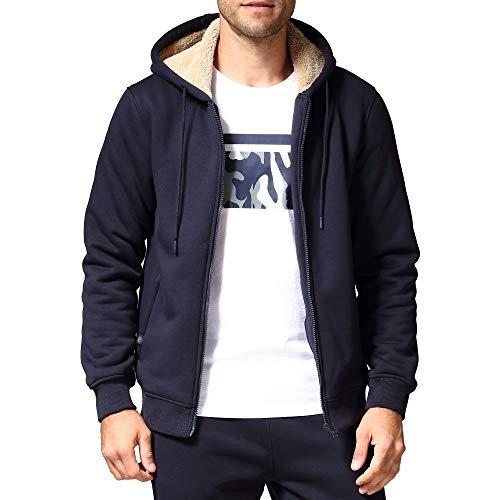 Men's Fleece Jackets Sherpa Lined Sweatshirt Heavyweight Thick Zip Up Hoodie with Zipper Pockets(1735Blue L)
