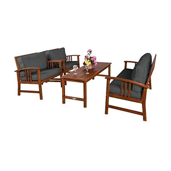 Deuba Lounge Sitzgruppe Atlas Akazien Holz Auflagen Sessel Bank Tisch Gartenmöbel Sitzgarnitur Garten Set Anthrazit