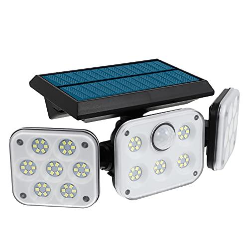 Abaodam Lámpara solar de tres cabezas lámpara impermeable al aire libre del sensor de pared de la calle