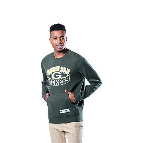 Ultra Game NFL Green Bay Packers Mens Fleece Crew Sweatshirt, Team Color, Large