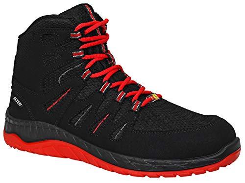 ELTEN Sicherheitsschuhe MADDOX Black-Red Mid S3, Herren, sportlich, leicht, schwarz/rot, Stahlkappe, Halbstiefel - Größe 43