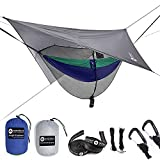 """Easthills Outdoors Jungle Explorer 118"""" x 79"""" Double Camping Hammock with Separated Mosquito Bug Net and Waterproof Rainfly 2 Person Portable Durable Parachute Nylon Hammocks Navy Blue"""