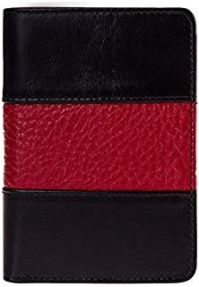 Fire Fighter Badge Wallet, All Leather, Fits Any Shape Badge with a Pin Back- Black Leather with Thin Red Line