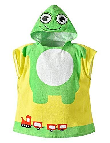 Baumwolle Kapuzen babydecke Handtuch Kinder Jungen Mädchen BadePoncho 60 * 60cm Bad Handtuch Badetuch Bademäntel (Frosch)