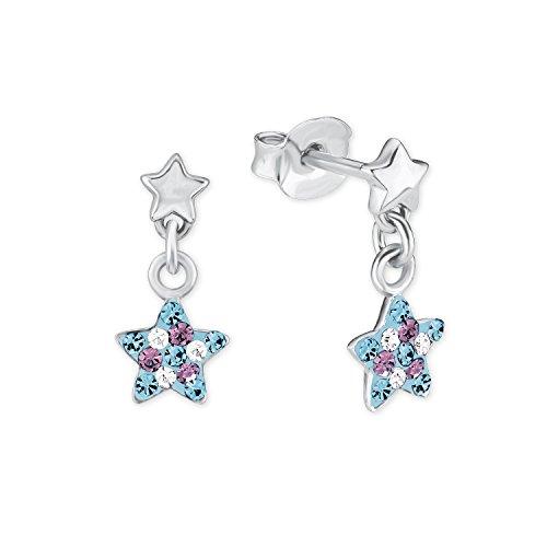 Prinzessin Lillifee Kinder-Ohrhänger Stern 925 Silber rhodiniert Kristall mehrfarbig - 2013176, Einheitsgröße Blau/Lila