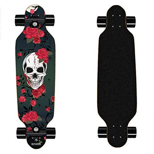 31 in Mini Longboard Cruiser longboards danceboards Downhill for Teens Beginners Girls Boys Kids Adults, Maple Wood Skateboard (Skull)