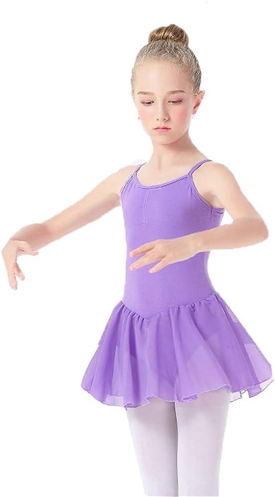 DFLYHLH Girls' Ballet Jumpsuit Pink Tights Gym Suit Chiffon Skirt Ballet Dance Dress Bowknot Children's Dance Jumpsuit