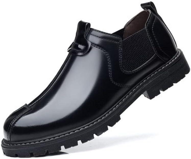 Nicwagrlnsnjx Black Dress Shoes, Quality Patent Leather Men's Boots Fashion Oxford Shoes Men's Leather Ankle Boots Autumn Plus Size 38-45 (Color : Black, Size : 45)