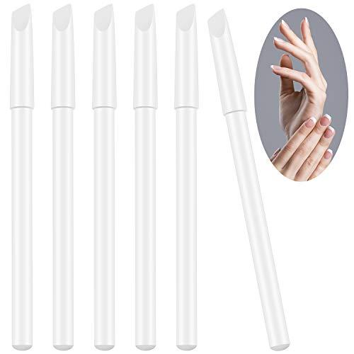 6 Stücke Weiße Nagel Bleistifte 2-in-1 Nagel Bleaching Bleistifte mit Nagelhautschieber für Französisch Maniküre Zubehör