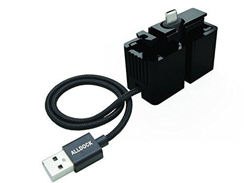 ALLDOCK Click-In Adapter mit USB auf USB-C Lade-/Datentransferkabel, Kabellänge 35 cm, ABS-Kunststoff, Schwarz, 6894