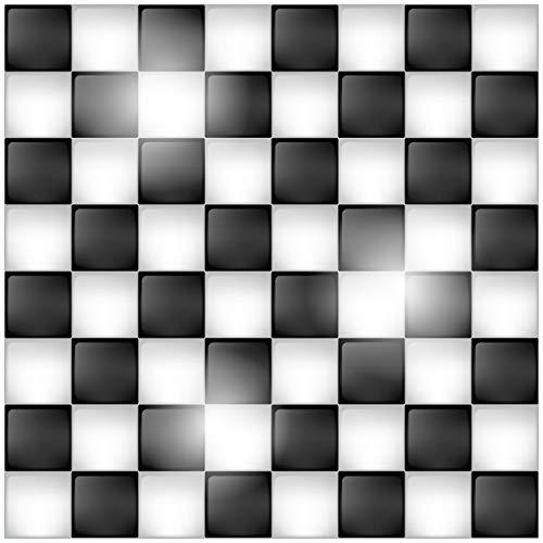 Wallario Glasbild Schachbrett Muster - 50 x 50 cm in Premium-Qualität: Brillante Farben, freischwebende Optik