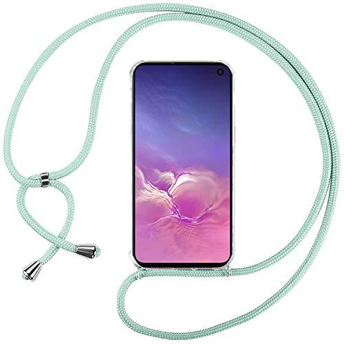 Ingen Funda con Cuerda para Samsung Galaxy S10e - Carcasa Transparente TPU Suave Silicona Case con Colgante - Verde