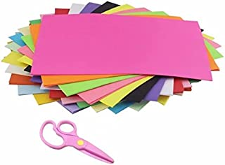 AIMI Construction Paper A4 Double Sided Lightweight Coloured Paper 10 Colors 100 Sheets Copy Paper and 1 Pieces Plastic Safety Scissors