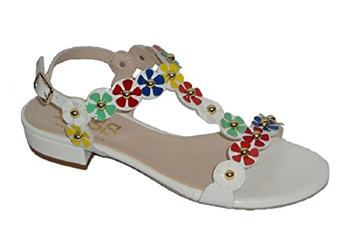 Kess 18186 Damen Sandalen Charol weiß mit Blumendekor, Mehrfarbig - Weiß - Größe: 38 EU
