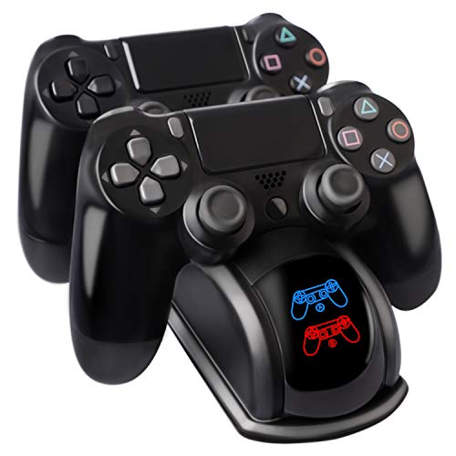 PS4 Controller Charger, PS4 Controller Charging Station Dock Dual USB for Sony Playstation4 / PS4 / PS4 Slim / PS4 Pro Controller, with LED Light Indicators and Charging Cable