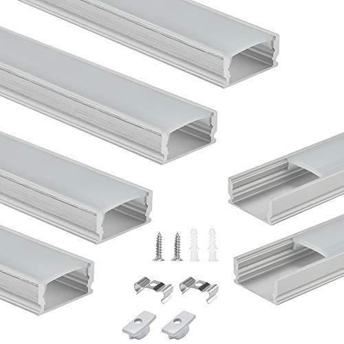 BUZIFU LED Aluminium Profil 1m, 6 Stück LED-Profil U-Form Led Schiene Led Einbauprofil Led Profil Breit Aluprofil Led Stripes mit komplettem Montagezubehör für LED-Strips/Band bis 12 mm