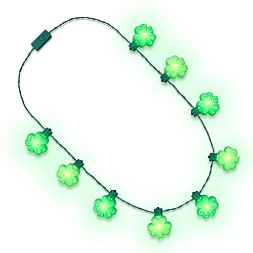 Green Light Up Shamrock String Necklace for St Patrick's Day