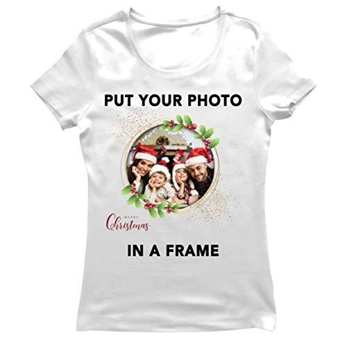 lepni.me Camiseta Mujer Marco Personalizado Vacaciones de Navidad Regalo Personalizado Foto Familiar (Large Blanco...