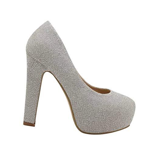 Yudesun Shoes Klassische Damen Stilettos - High Heels Plateau Abend Schuhe Bequem Frauen Glitzer Pumps Silber 38 (Schuhe ist Kleiner)