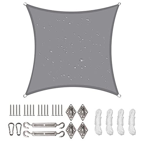 NAKIHOUSE Sonnensegel Wasserdicht mit Befestigungs Kit, 3 x 3 m UV Schutz Sonnenschutz Segel für Garten, Balkon & Terrasse