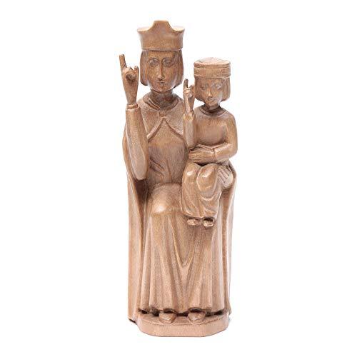 Holyart Estatua Virgen con niño de Estilo románico de Madera de la Val Gardena, Acabado patinado, 28 cm
