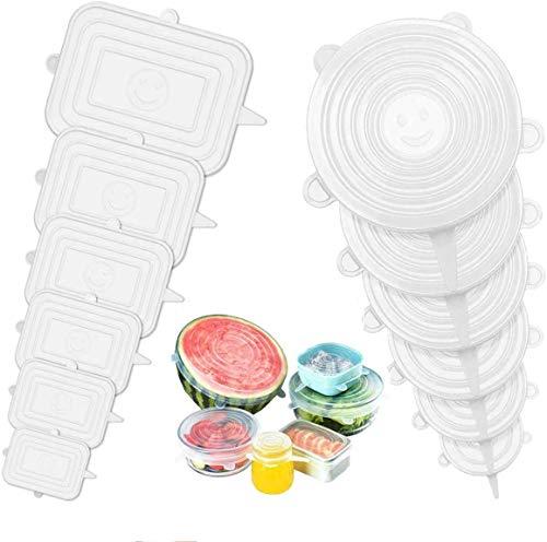 FAPPEN Coperchi in Silicone Estensibile, 12 Pezzi Coperchio in Silicone Stretch per Alimenti, Riutilizzabile ed Espandibile Coperchio per Contenitori, Piatti, Scodelle, Tazza (Rotondo + Quadrato)