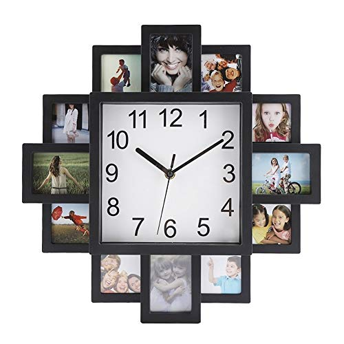 Orologio da parete - Orologio da parete Orologio da parete in plastica 2 in 1 con cornice for foto Decorazione domestica moderna nera Decorazione soggiorno