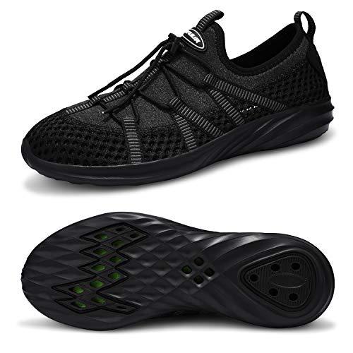 VIFUUR Men Womens Water Shoes Aqua Barefoot Athletic Sports Shoes for Beach Surf Walking Kayaking Boating Pool 6885-Black 42