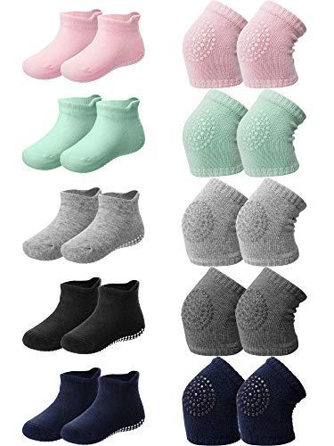 10 Pairs Baby Crawling Anti-Slip Knee Pads and Anti-Slip Baby Socks Set Unisex Toddler Knee Protectors Non Slip Ankle Socks (Classic Colors)