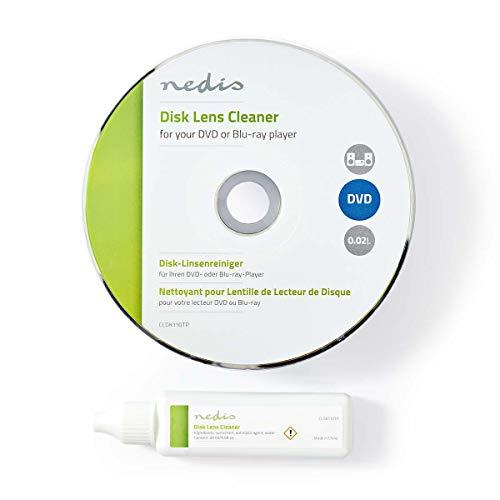 NEDIS Detergente per Lenti a Disco | Pulizia del Disco | 20 ml | Lettore Blu-Ray/Lettore Dvd/Riproduttore CD Trasparente