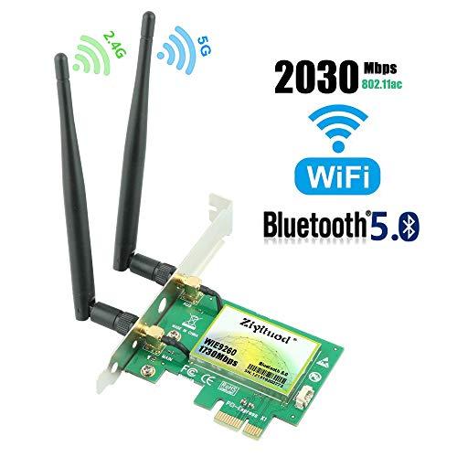 Ziyituod Gigabit WiFi Card, AC2030Mbps PCIe Wireless WiFi Network Card with Bluetooth 5.0, Dual Band(5GHz 1730Mbps / 2.4GHz 300Mbps) PCI Express Wireless Card for Desktop PC, Supports Win 10(WIE9260)