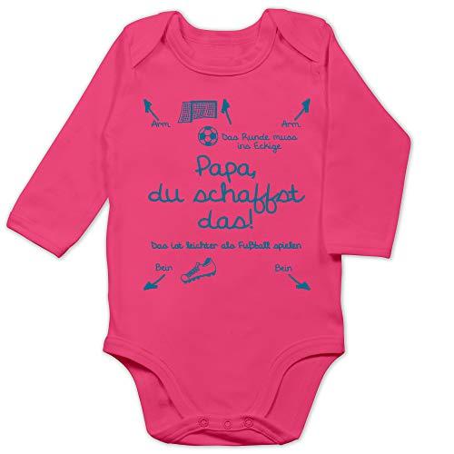 Shirtracer Strampler Motive - Papa du schaffst das Fußball Junge - 3/6 Monate - Fuchsia - Strampler fußball - BZ30 - Baby Body Langarm