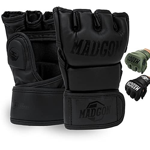 MADGON Guanti MMA con Imbottitura Professionale – Guanti Boxe con Eccellente Supporto per i Polsi – Guanti Palestra Resistenti per Arti Marziali – Sacca Inclusa