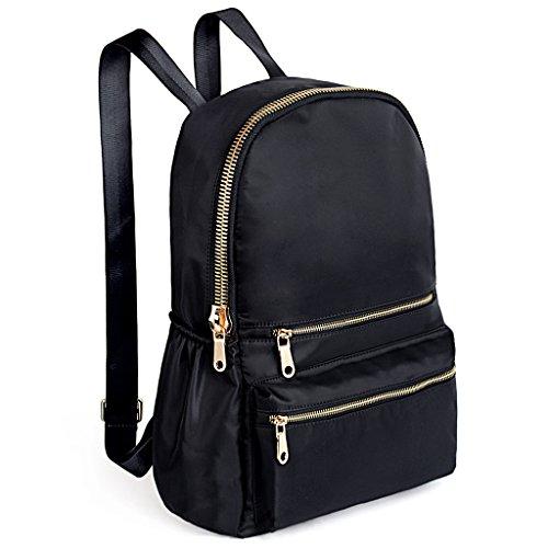 UTO Ladies Nylon Backpack Waterproof Oxford Cloths Rucksack for Women Teenage School Bags for Girls Shoulder Purse Black