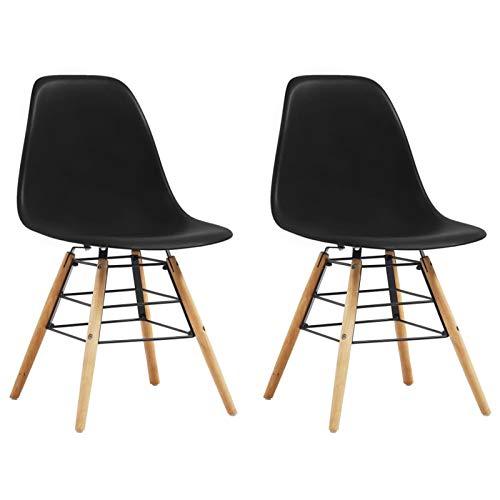 Tidyard Esszimmerstühle 2 STK.Küchenstuhl Stühle Beistellstühle 46,5 x 48 x 82 cm aus Polypropylen gefertigten Stuhlsitze,Polsterstühle Stuhl,Schwarz