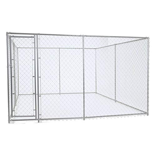 Chain Link Dog Kennel – Lucky Dog Outdoor Heavy Duty Pet Kennel – This Pet Cage System is Perfect For Containing Larger Dogs and Small Animals. Galvanized chain link doesn't kink or tangle. Two setup options (5'W x 15'L x 6'H or 10'W x 10'L x 6'H)