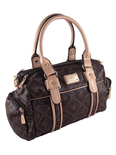 Giulia Pieralli Damen Fashion Style Glamour Designer Handtasche Damentasche Tasche Henkeltasche Kunstleder Neu (beige)