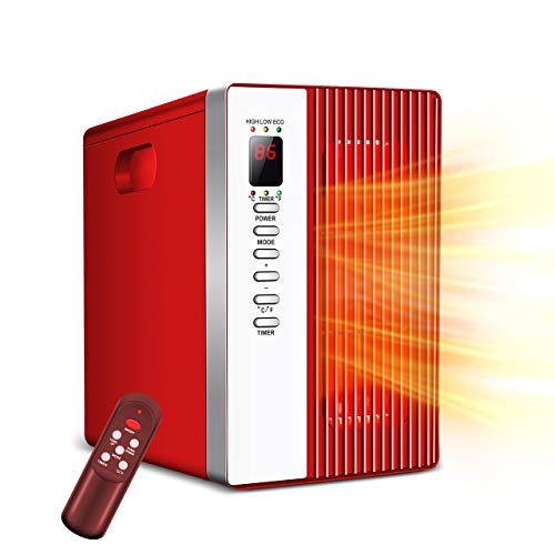Portable Infrared Heater - 1500W Electric Heater with 3 Modes, 12h Timer, Remote Control, Room...